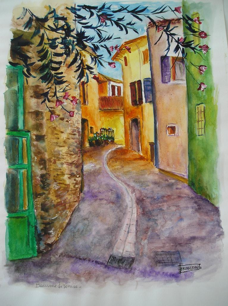 BEAUMES DE VENISE VILLAGE (aquarelle)