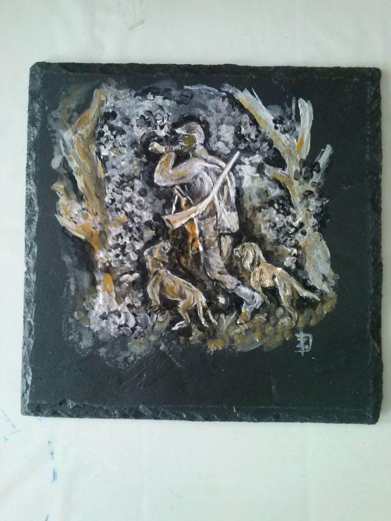 Chasseur  (acrylique sur ardoise)