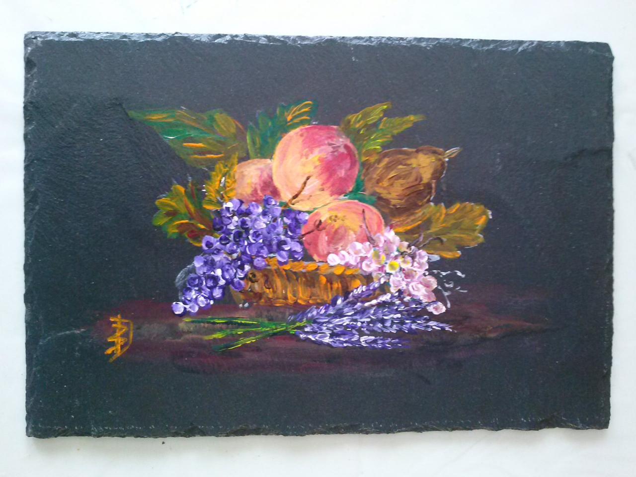 Corbeille de fruits (acrylique sur ardoise)