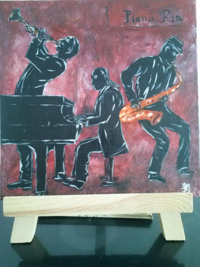 Piano bar   acrylique 20 x 20cm