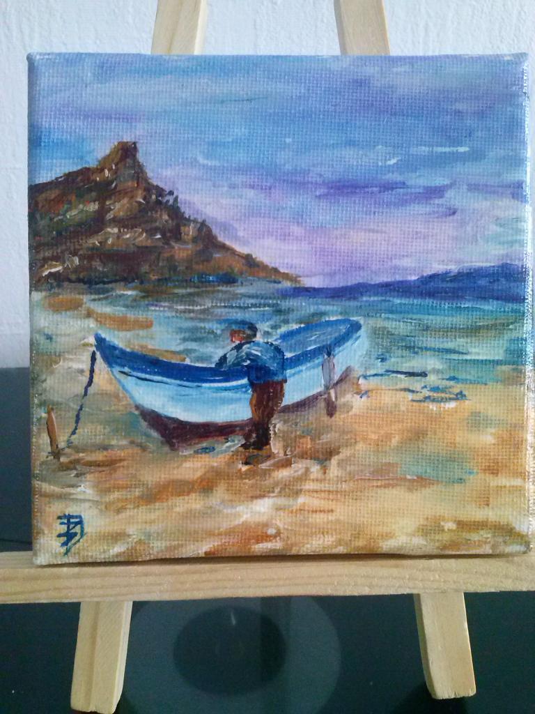 Pêcheur (acrylique sur toile  20 x 20cm )