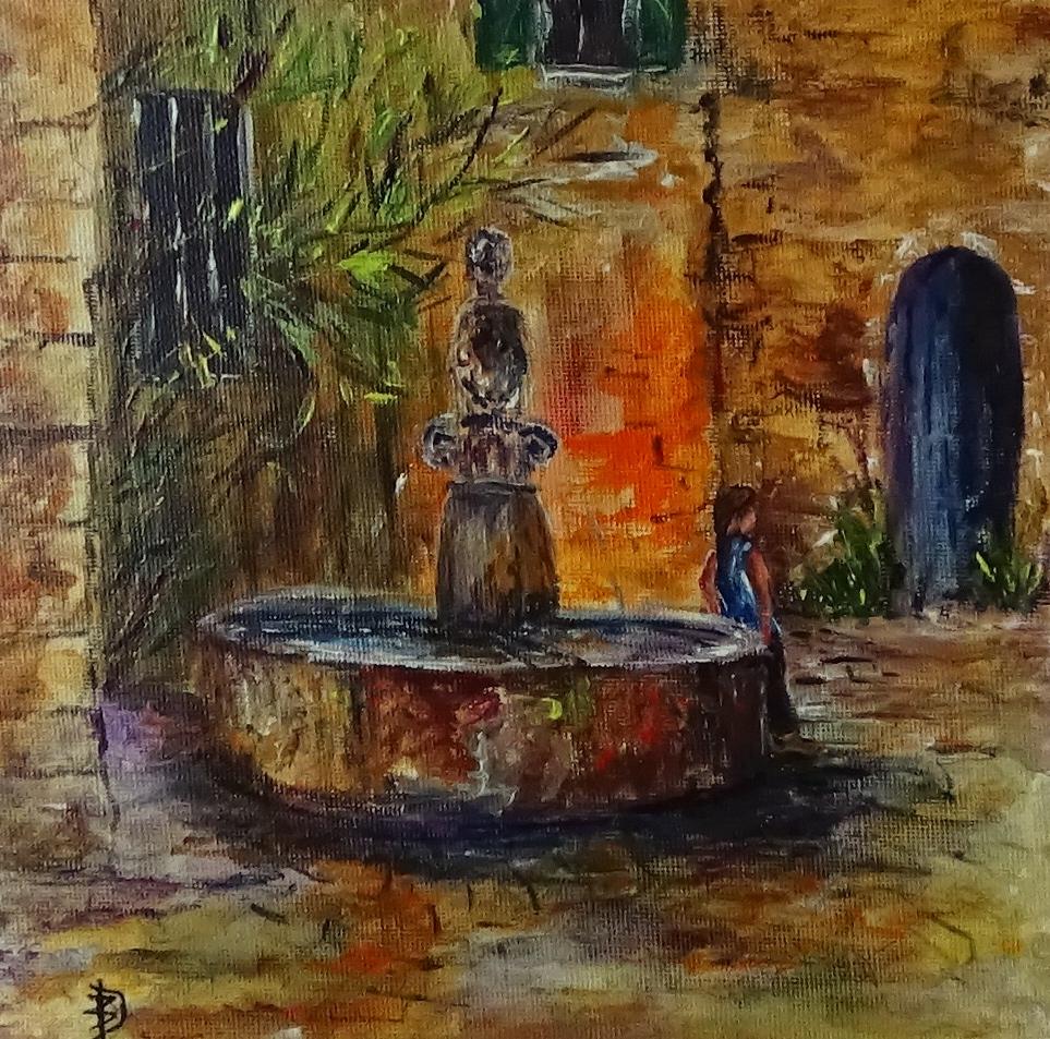 La fontaine (acrylique sur toile  20 x 20cm )